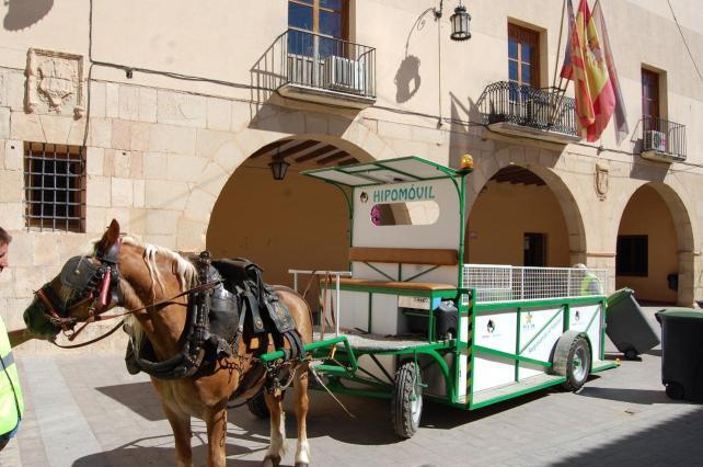 Monforte del Cid-recogida de basuras carro de caballos-more than green