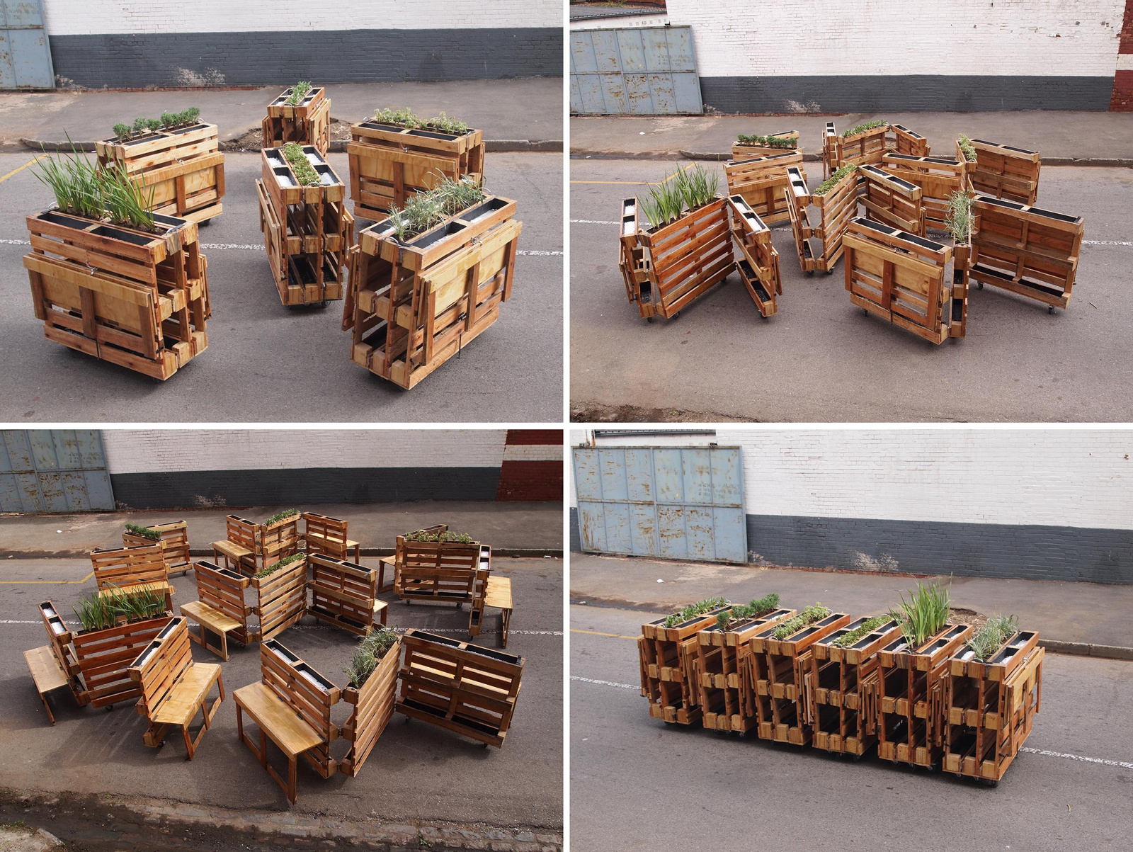 Brothers In Benches Urban Furniture With Recycled Pallets Street  # Muebles Reiclados